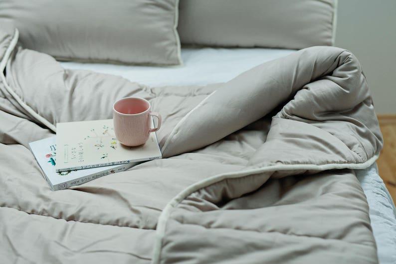 Lightweight quilt Full size bedding Full comforter Wool comforter Gray decor. Gray comforter Summer quilt Gray bedding Duvet insert