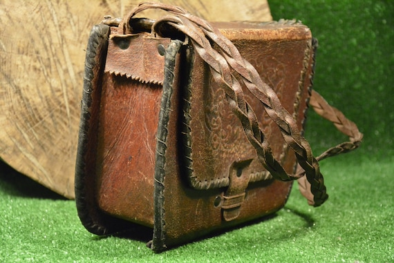 Sac vintage en cuir véritable de vachette, sac en cuir Vintage, sac en cuir Brawn, sac rétro, Vintage cuir de veau naturel, solide, Hippie, sac à la main