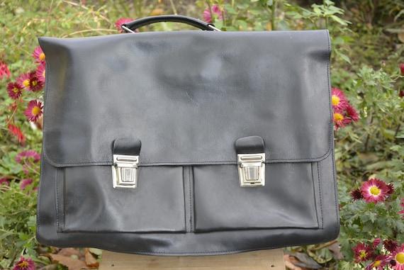 Vintage leather bag - Black leather bag - Vintage