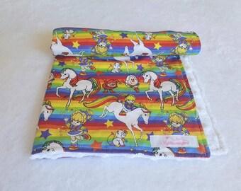 Rainbow Brite Baby Blanket - Rainbow Baby Blanket - Baby Girl Blanket - Minky Baby Blanket - Secirity Blanket - Rainbow Brite