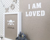 "Eco Friendly Original Screen Print ""I AM LOVED"" unframed Artwork wall art - 30cm x 40cm - other colours available"
