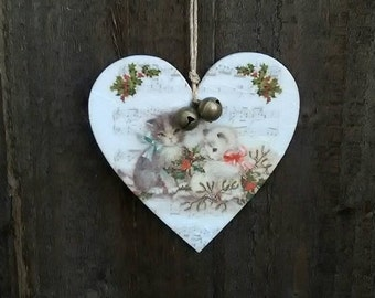 Christmas Decoration, Vintage Cats, hanging heart, jingle bells, decoupaged heart, tree decoration, Vintage Christmas