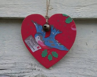Christmas Decoration, hanging heart, jingle bell, Decoupaged heart, tree decoration, heart, bird, vintage bird, Cath Kidston