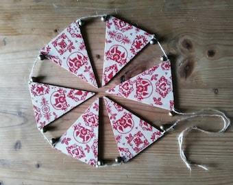 Christmas Garland, Christmas Decoration, Christmas Bunting, decoupaged garland, flag bunting, wooden bunting, jingle bells