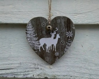 Christmas Decoration, hanging heart, decoupaged heart, wooden heart, deer, Vintage Christmas, rustic, tree decoration