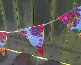 Floral Flag Bunting, Wooden Flag Garland, Decoupage, Vintage Style, Flowers & Polka Dot