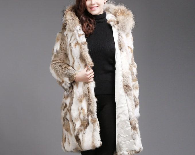 Rabbit Fur Hooded Jacket LONG, Fur Coat, Rabbit Fur Jacket
