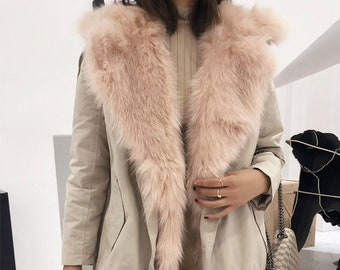 Waterproof Parka with Fox Fur Vest and Fox Fur lining, Fur Coat, Fur Jacket.