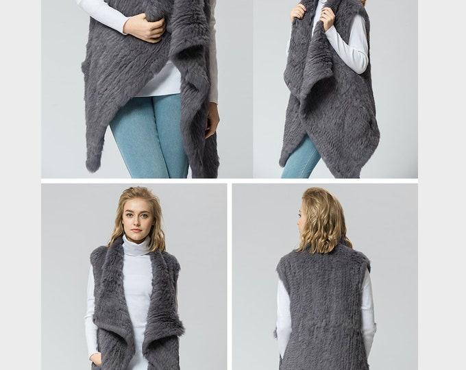 Rabbit Fur Vest, Real Rabbit Fur Coat, Fur Jacket.