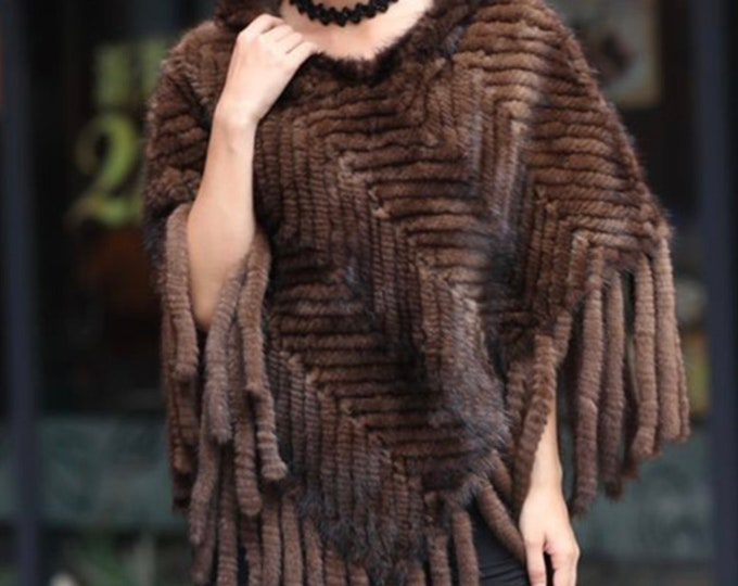 Mink Fur Cape/Poncho with hood.