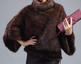 Mink Fur Top, Knitted Fur Jacket.