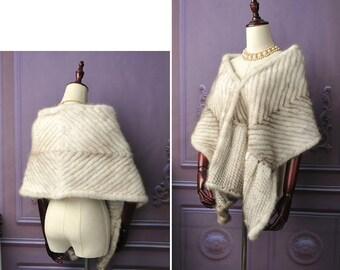 Knitted Mink Fur Shawl, Real Mink Fur, Mink Fur Scarf.