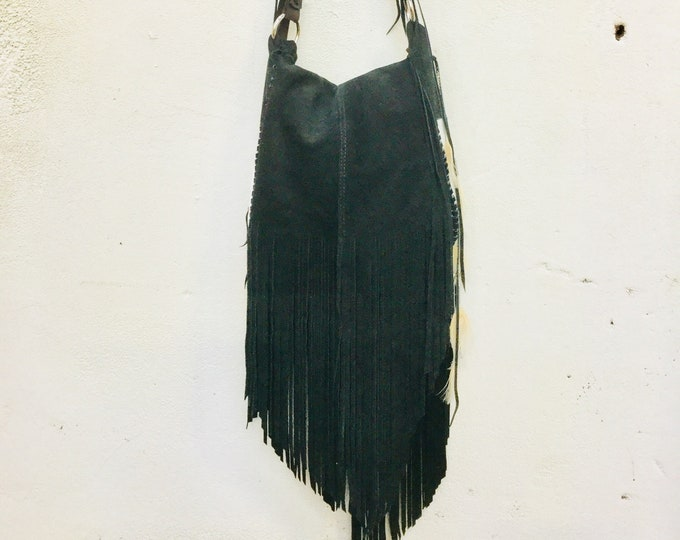 Suede Leather and cowhide Fringe Bag