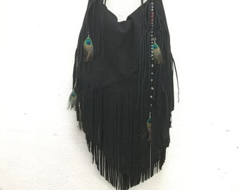 e093e6a1b984 Suede Leather Fringe Bag