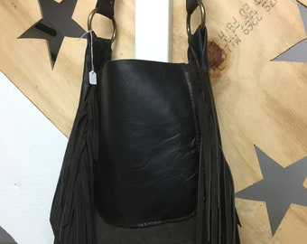 Leather and Suede Fringe Bag