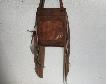 Distressed Tan Leather Fringe and Feather  Bag