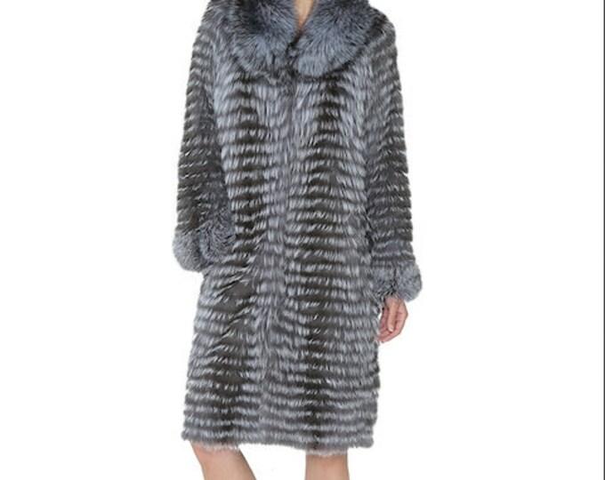 Fox Fur Coat, Long Real Fur Jacket, Real Fur Coat.