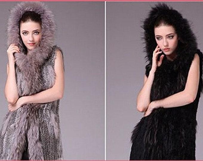 Real Rabbit Fur Hooded Vest, Fur Vest.