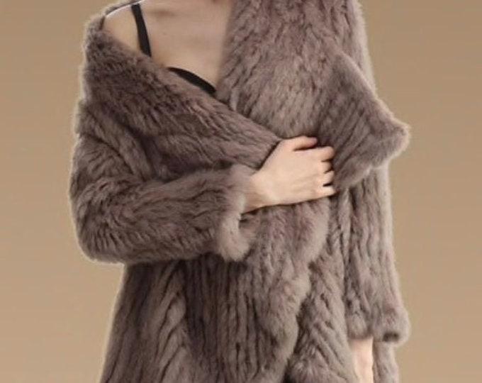 Casual & Comfortable Rabbit Fur Jacket, Fur Coat.