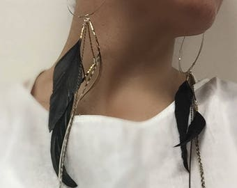 Black Silver & Gold Feather Earrings.