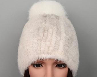 Real Mink Fur Hat with Pom Pom, Real Fur Hat