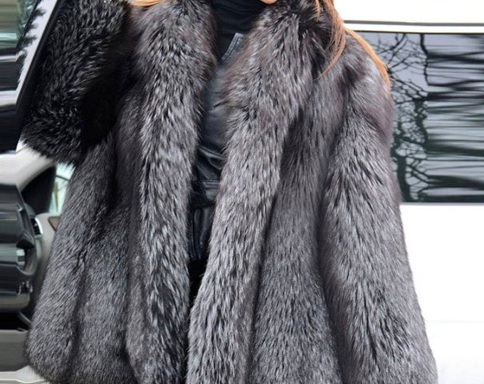 Silver Fox Fur Jacket, Fox Fur Coat, Real Fur Jacket.
