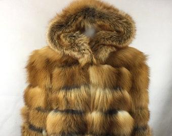 Red Fox Fur Jacket, Real Fur Coat, Fur Coat.