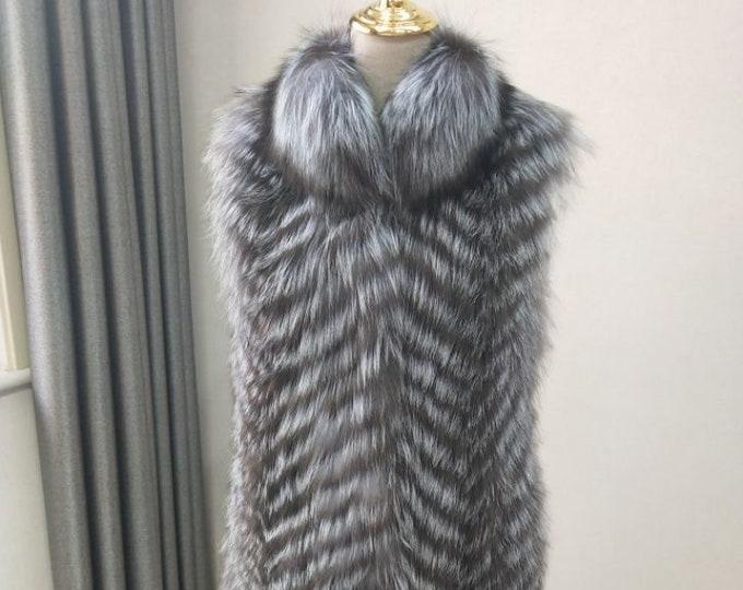 Fox Fur Vest, Long Real Fur Vest, Real Fur Coat/