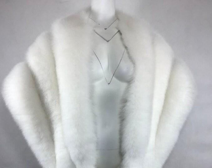 Luxury White Fox Fur Wedding Shawl, Real Fur Cape.