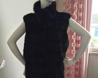 Rabbit  Fur Vest, Long Real Fur Vest.
