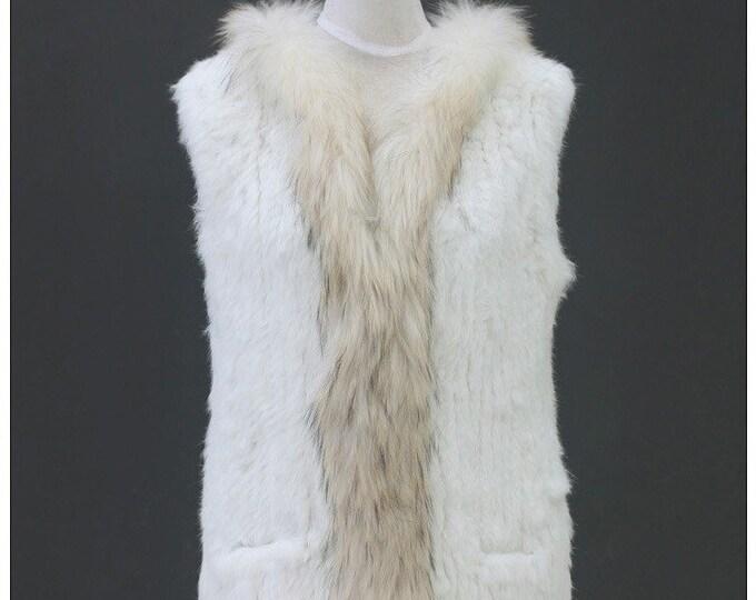 Raccoon and Rabbit Fur Vest (long)