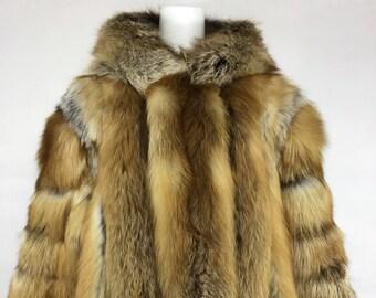Fox Fur Jacket with Hood, Real Fur, Fur Coat.