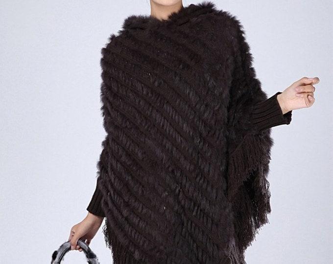 Genuine Rabbit Fur Poncho