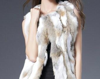 Rabbit Fur Vest WITHOUT Hood, Real Fur Vest, Fur Jacket.