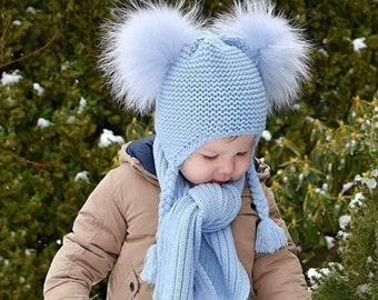 Kids Fur Pom Pom Hat & Scarf Set