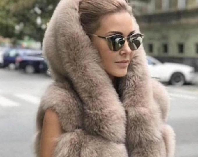Beautiful Fox Fur Vest with Hood, Real Fur Jacket, Fur Coat.