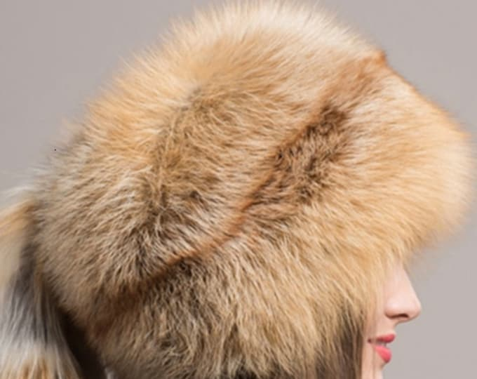 Full Pelt 100% Natural Fox Fur Bomber Hat, Real Fur Hat, Fox Fur Hat, Winter Hat