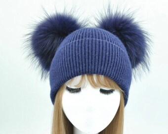 Cashmere & Raccoon Fur Pom Pom Hat