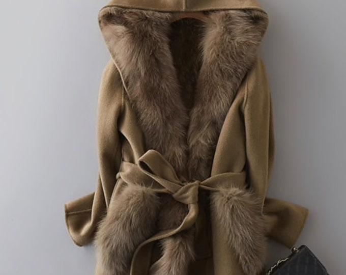 Long Cashmere & Fox Fur Coat, Real Fur Jacket.