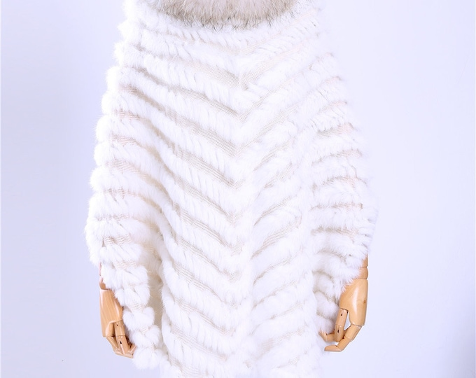 Knitted Rabbit Fur and Raccoon Fur Cape
