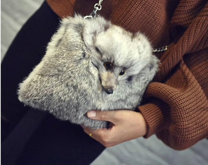 Fox & Rabbit Fur Bag, Real fur Bag.