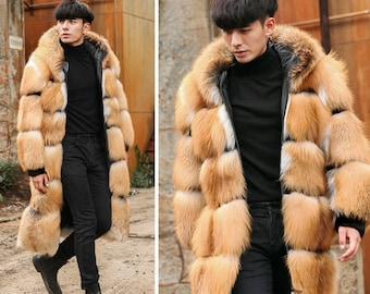 Mens Hooded Fox Fur Coat