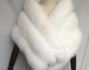 White Silver Fox Fur Wedding Shawl 155cm x 46cm