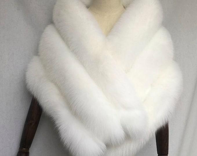 Payment plan - White Silver Fox Fur Wedding Shawl 155cm x 46cm