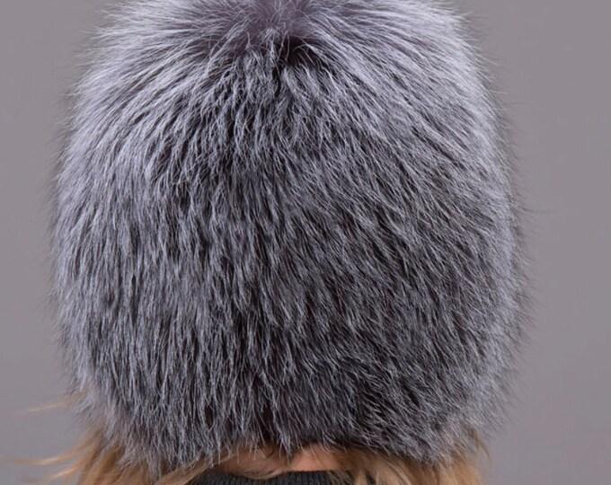 Silver Fox Fur Hat, Fur Hat, Real Fur Hat, Fox Fur Hat, Winter Hat