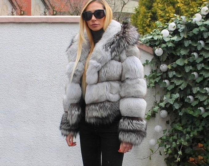 Silver Fox Fur Jacket, Fox Fur Coat, Real Fur Jacket, Fur Coat.