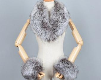 Fox & Raccoon Fur Collar, Cuffs, Real Fur Collar, Cuffs.
