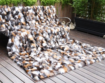 Fox Fur Patchwork Throw Blanket