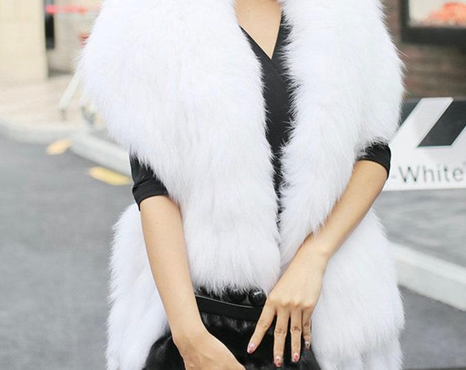 Crochet Shawl, Silver Fox Wedding Shawl, Genuine Fur Warp, Real Fur Wrap.