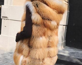 PAYMENT PLAN for: Red Fox Fur Vest Striped Gilet Coat, Real Fur Vest, Fox Fur Jacket.